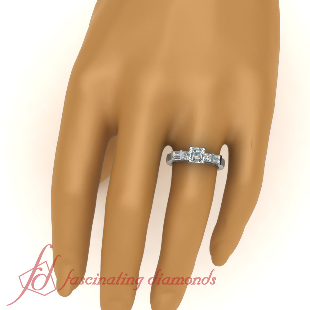 Tri Form Engagement Ring 0.68 TCW. Asscher Cut:Very Good Diamond SI1-D Color GIA 3