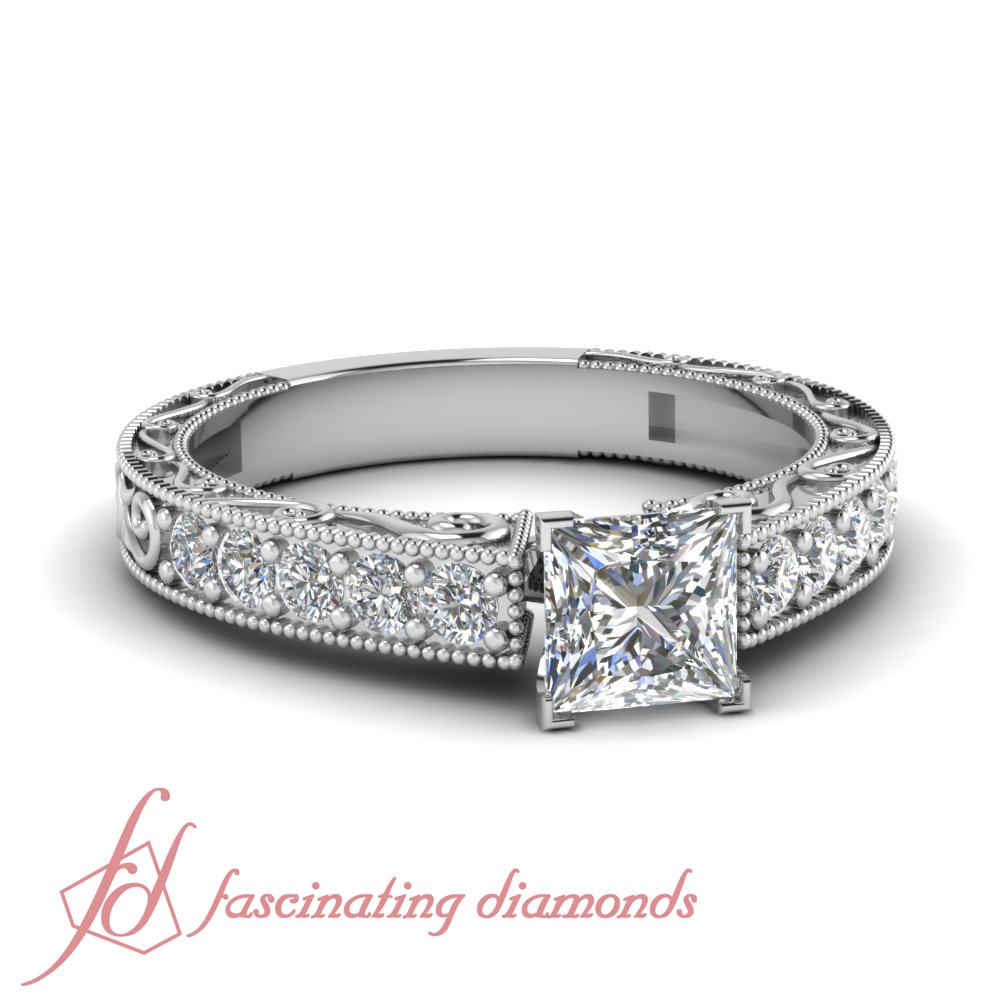 1 Ct Princess Cut VVS2 Diamond Hand Engraved Pave Set Engagement Rings For Wo