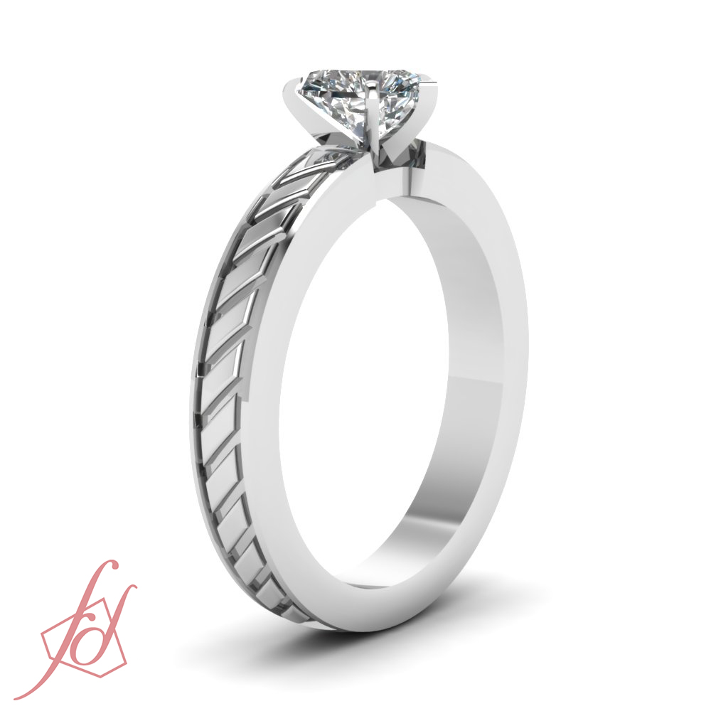solitaire hand engraved engagement ring 1 2 carat heart. Black Bedroom Furniture Sets. Home Design Ideas