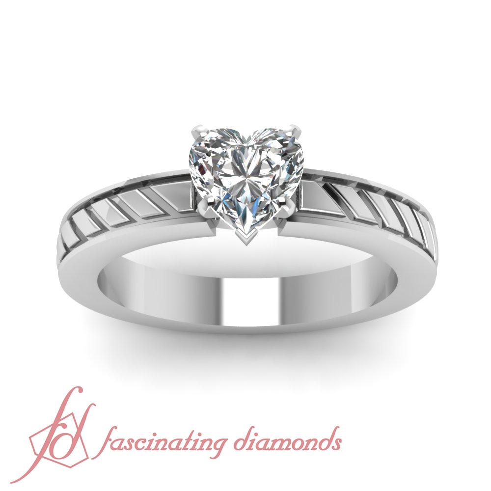 Solitaire Hand Engraved Engagement Ring 1 2 Carat Heart Shaped F Color Diamon