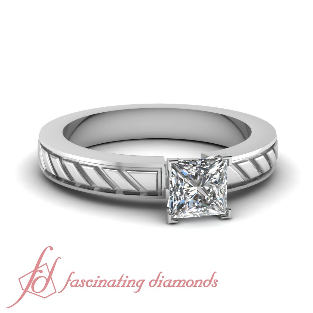 Solitaire Engagement Rings For Women With 1 Carat Princess Cut Natural Diamon