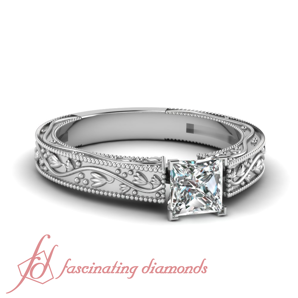 1 2 Carat Princess Cut SI2 F Color Diamond Filigree Solitaire Engagement Ring