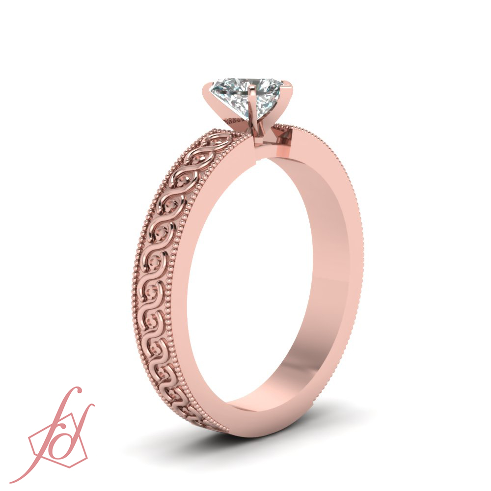 1 2 Carat Heart Shaped SI1 Diamond Solitaire Hand Engraved Engagement Ring GI