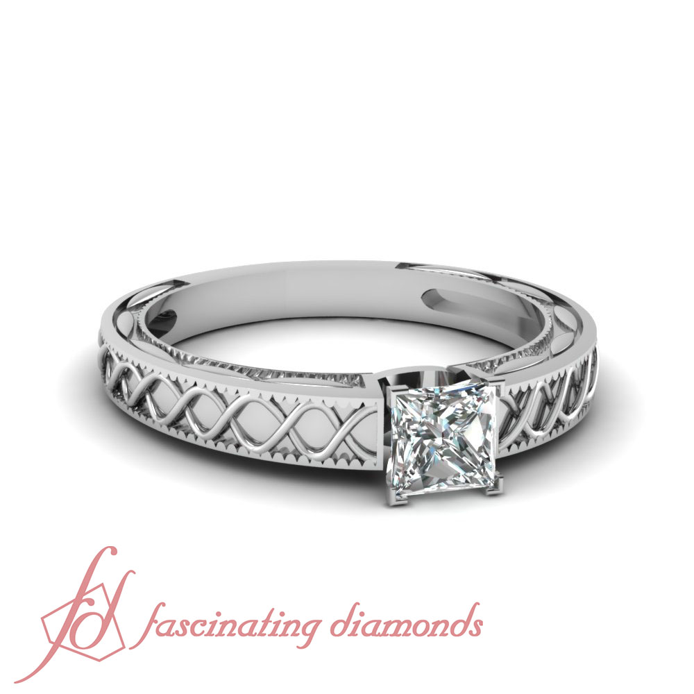 Solitaire Hand Engraved Engagement Ring 1 2 Ct Princess Cut Diamond SI2 F Col
