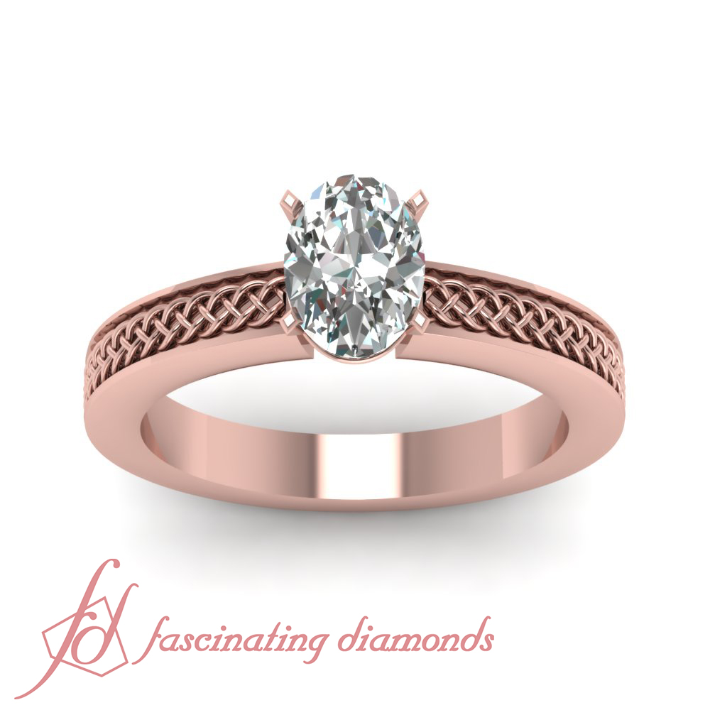 1 2 Carat Oval Shaped VS1 D Color Diamond Heirloom Solitaire Engagement Ring