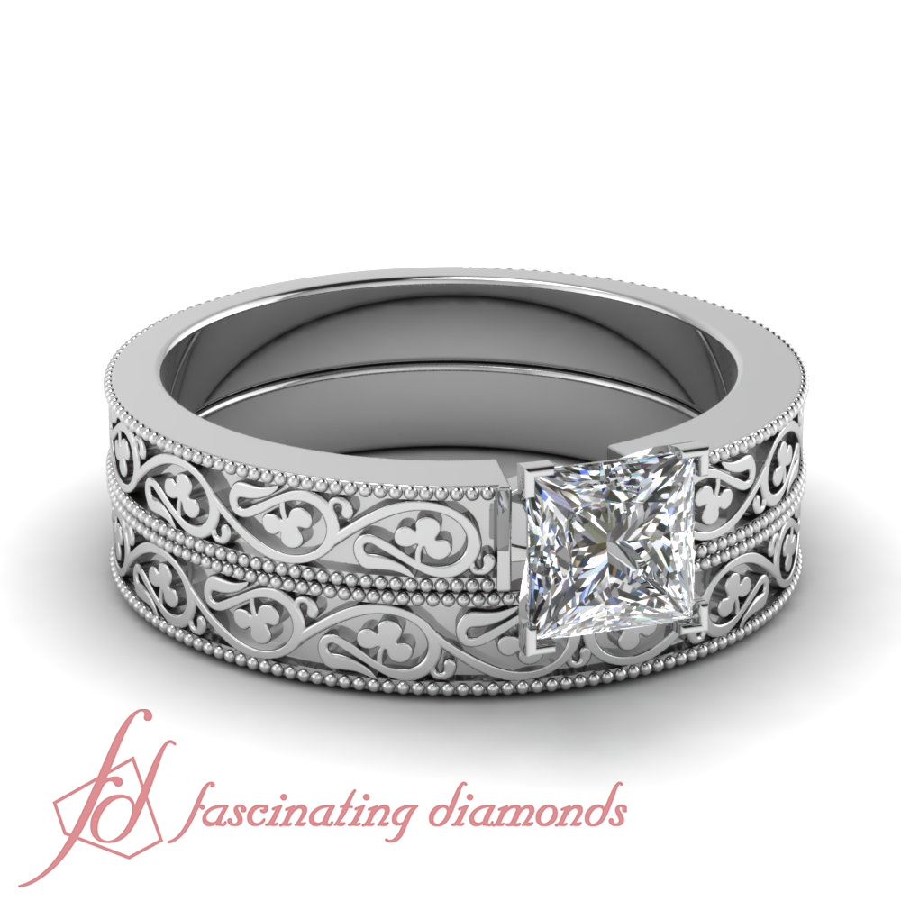 1 2 Carat Princess Cut Conflict Free Diamond Engraved Solitaire Bridal Rings