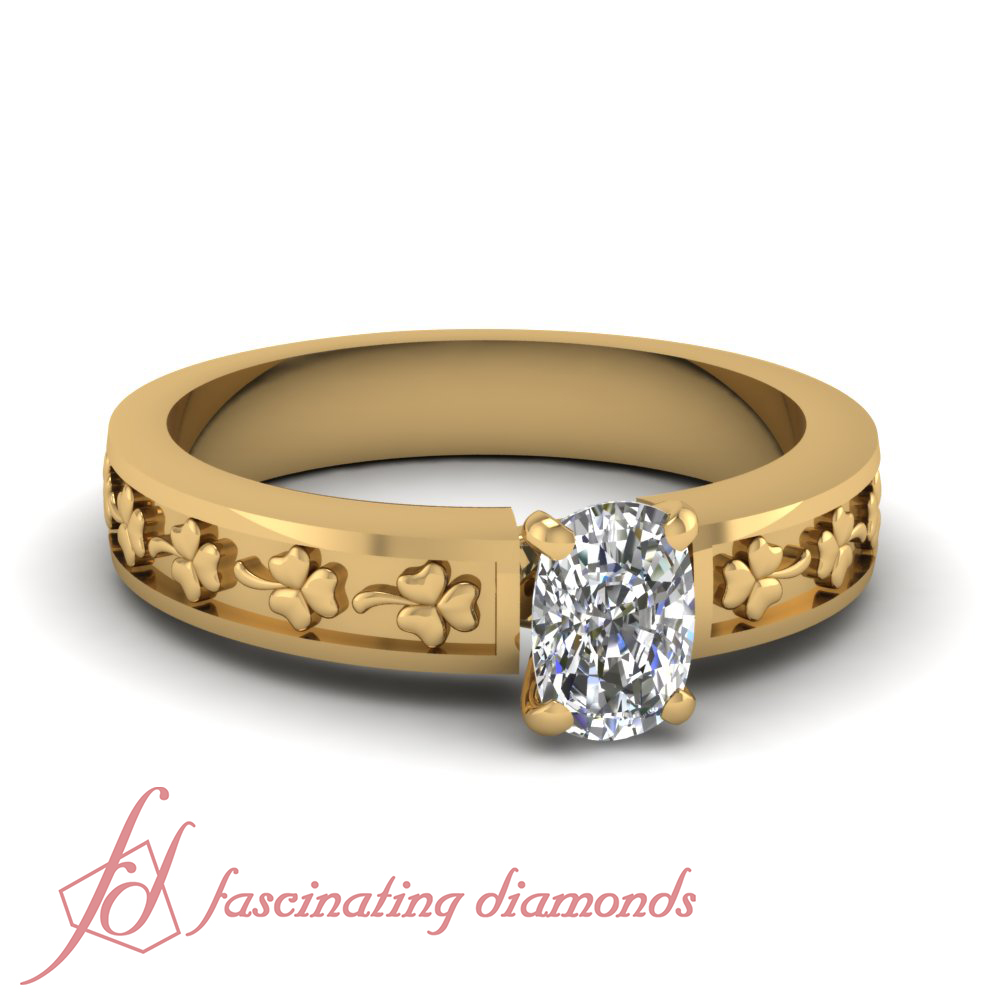 1 2 Carat Cushion Cut Diamond Solitaire Flower Carved Engagement Ring 14K Gol