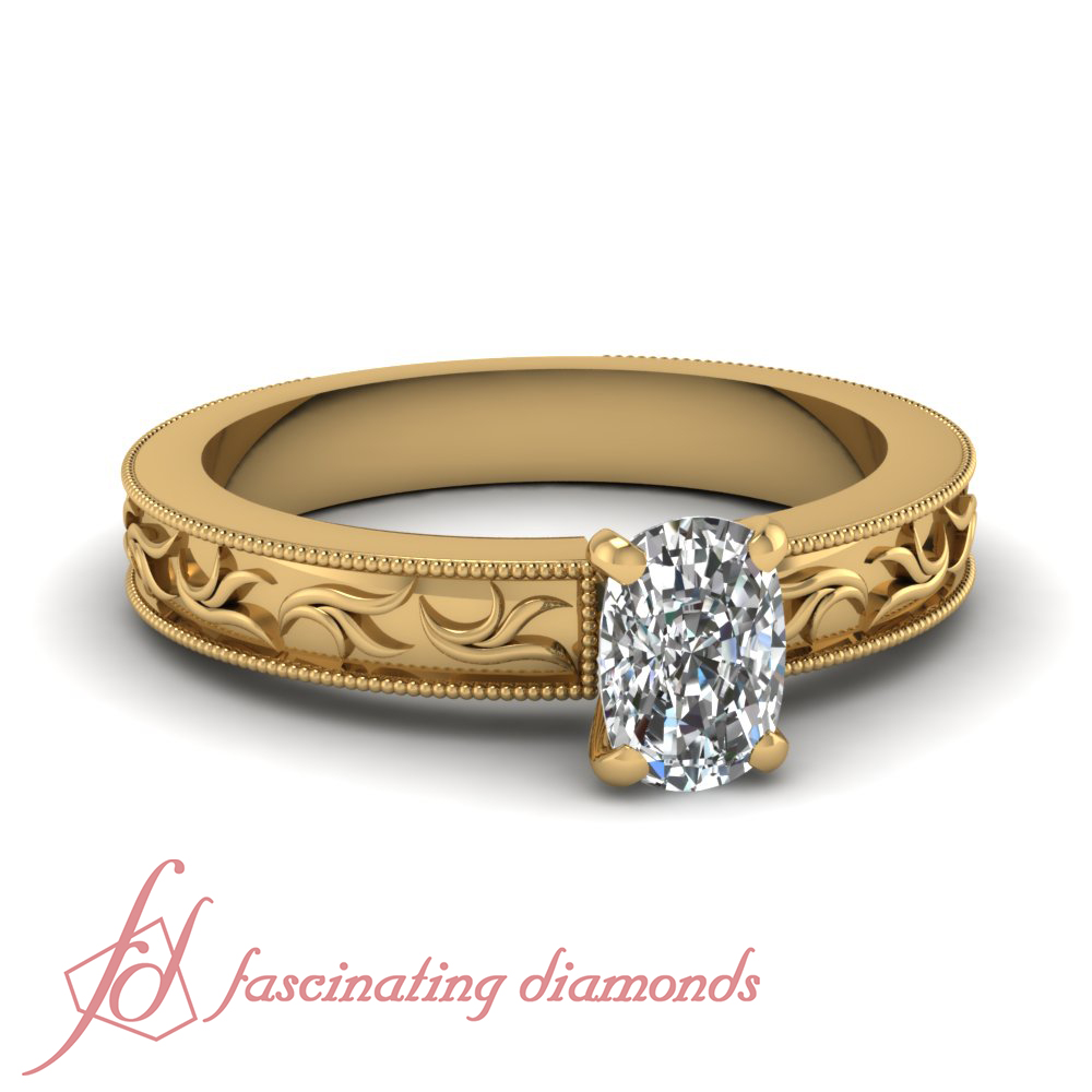 1 Carat Cushion Diamond Solitaire Engagement Ring in 14