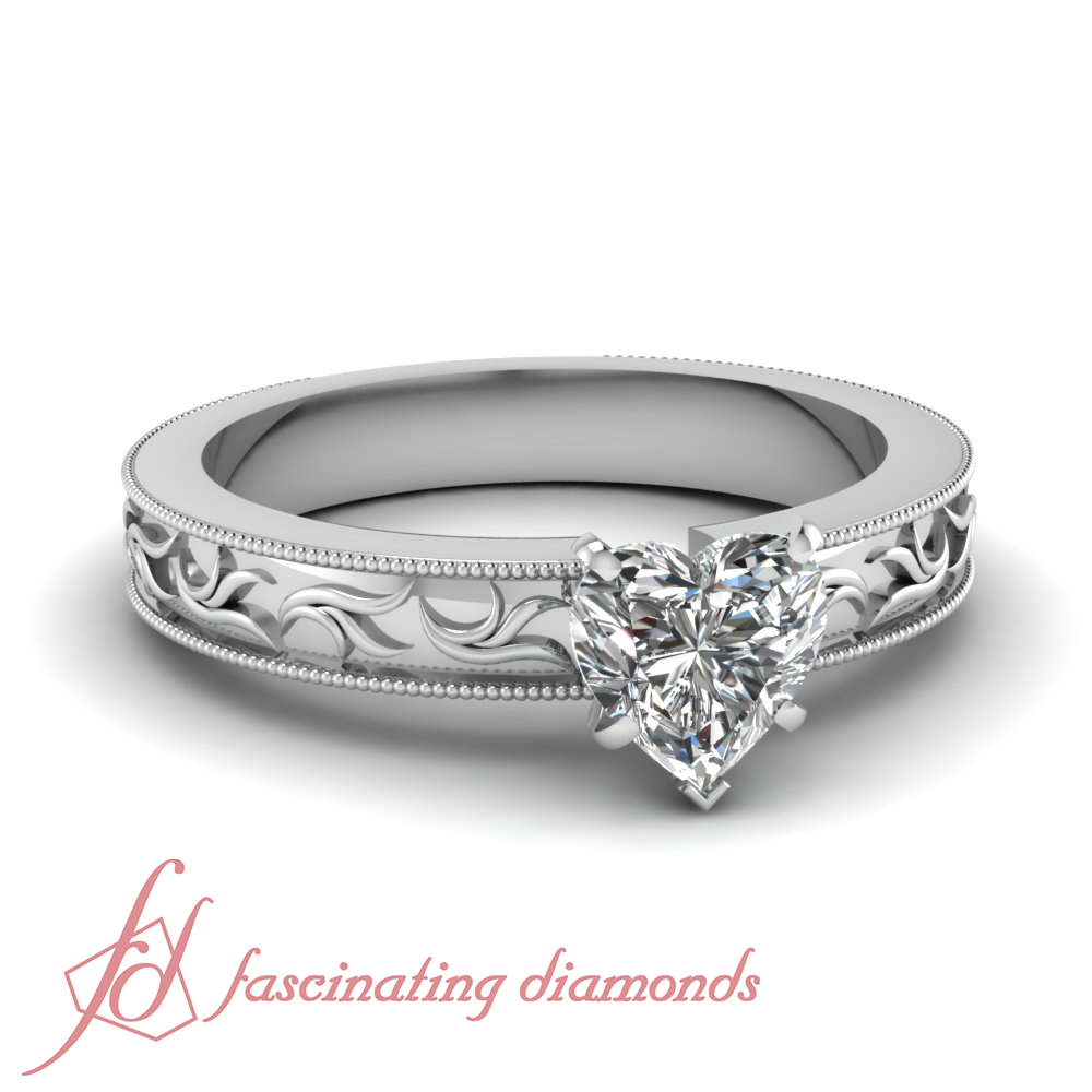 34 carat heart shaped diamond solitaire engagement ring
