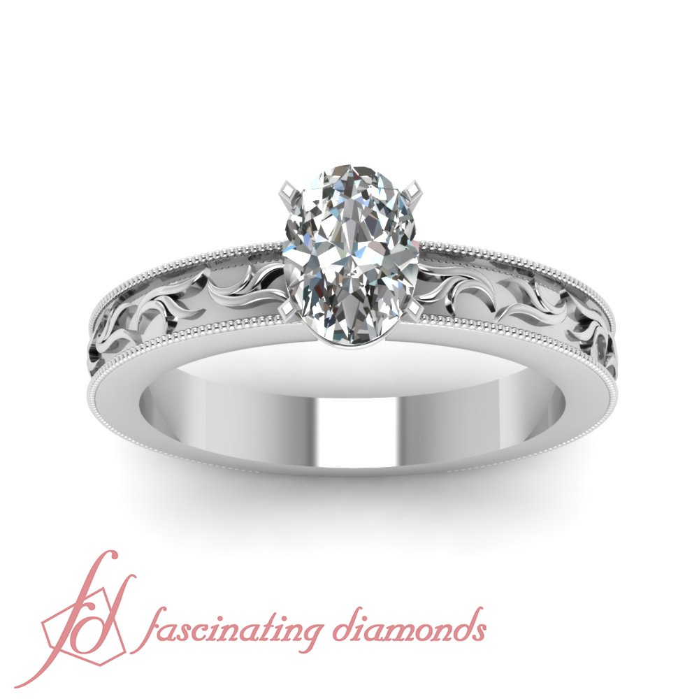 Solitaire Leaf Style Milgrain Engagement Ring 1 2 Carat Oval Shaped Diamond G