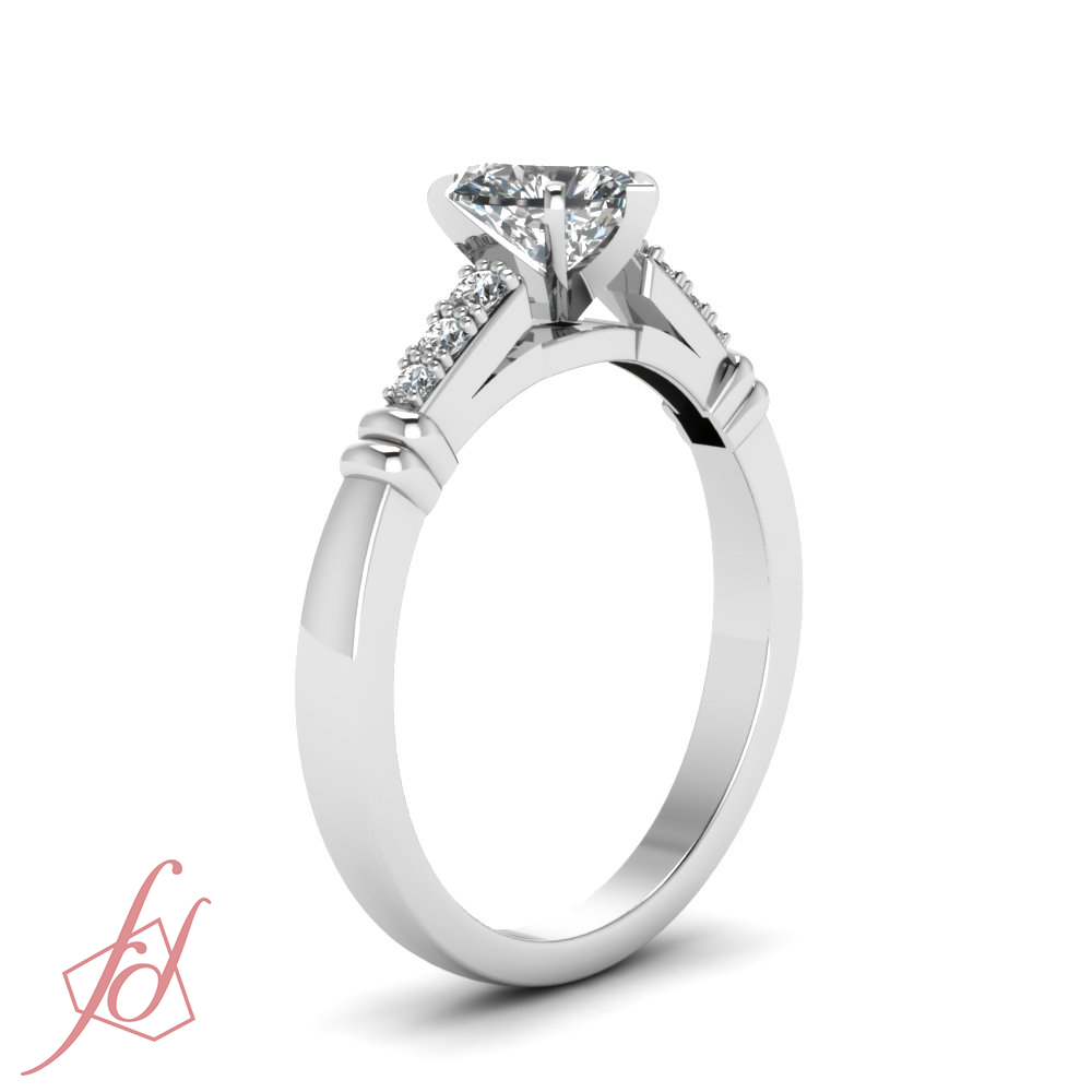 pave cathedral style engagement ring 0 55 ct shaped