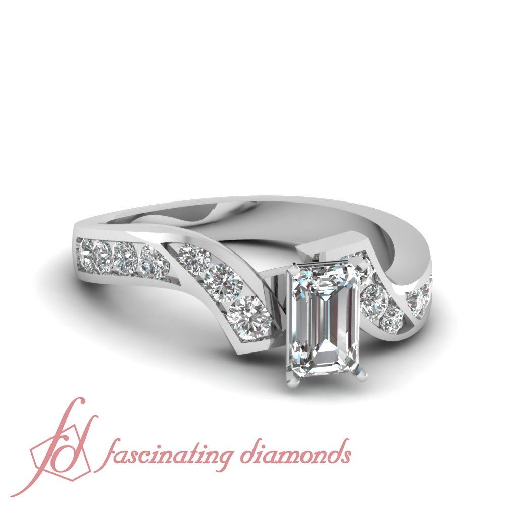 1 carat Emerald Cut platinum diamond engagement ring For ...