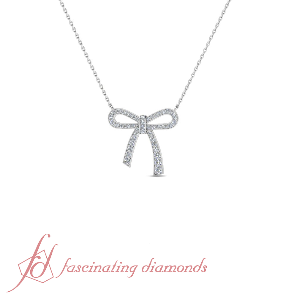 1 carat round cut bow diamond pendant necklace with chain in 14k buy diamond pendants online shopping white gold diamond necklace bow design diamond pendant necklace aloadofball Image collections