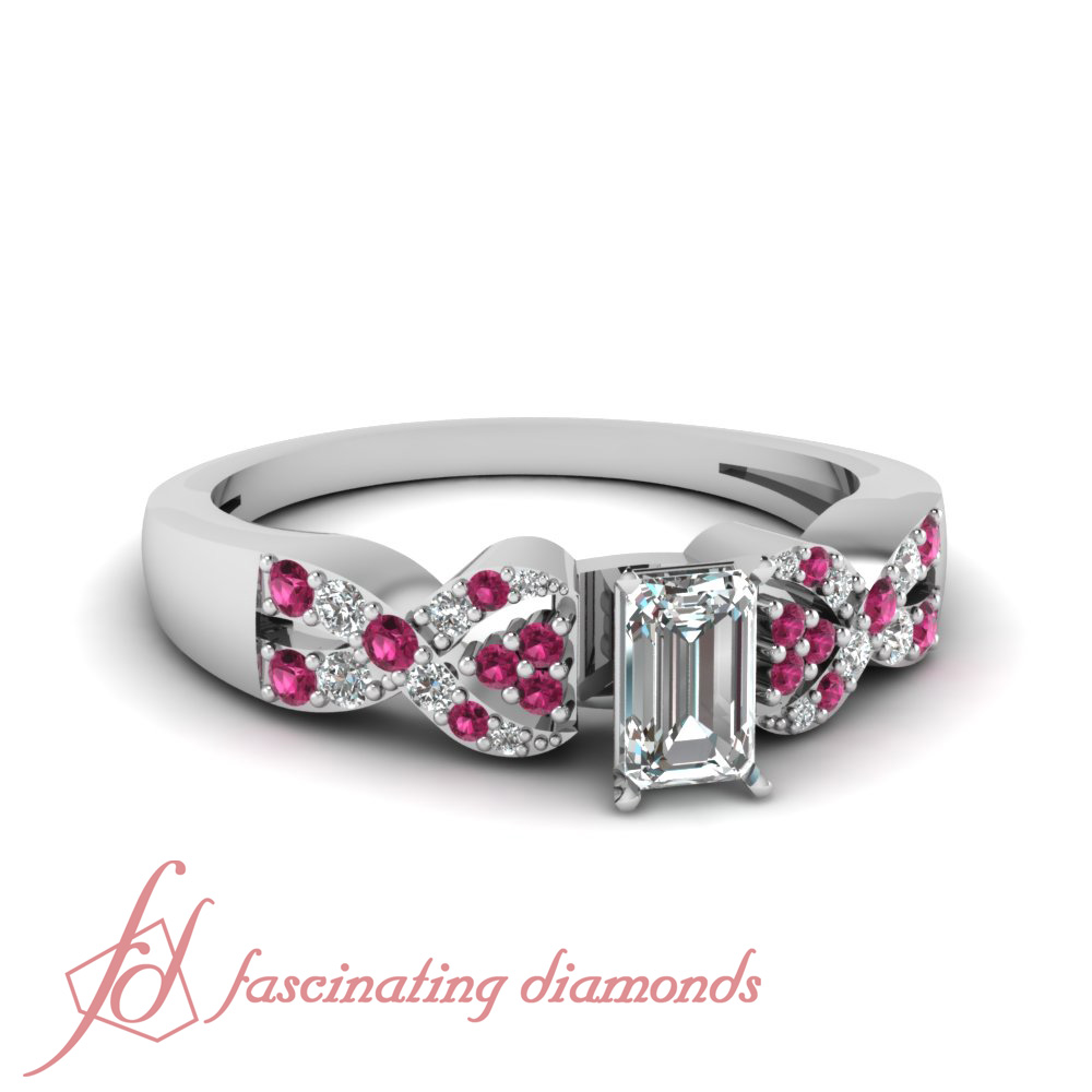 pink sapphire and emerald cut gold engagement