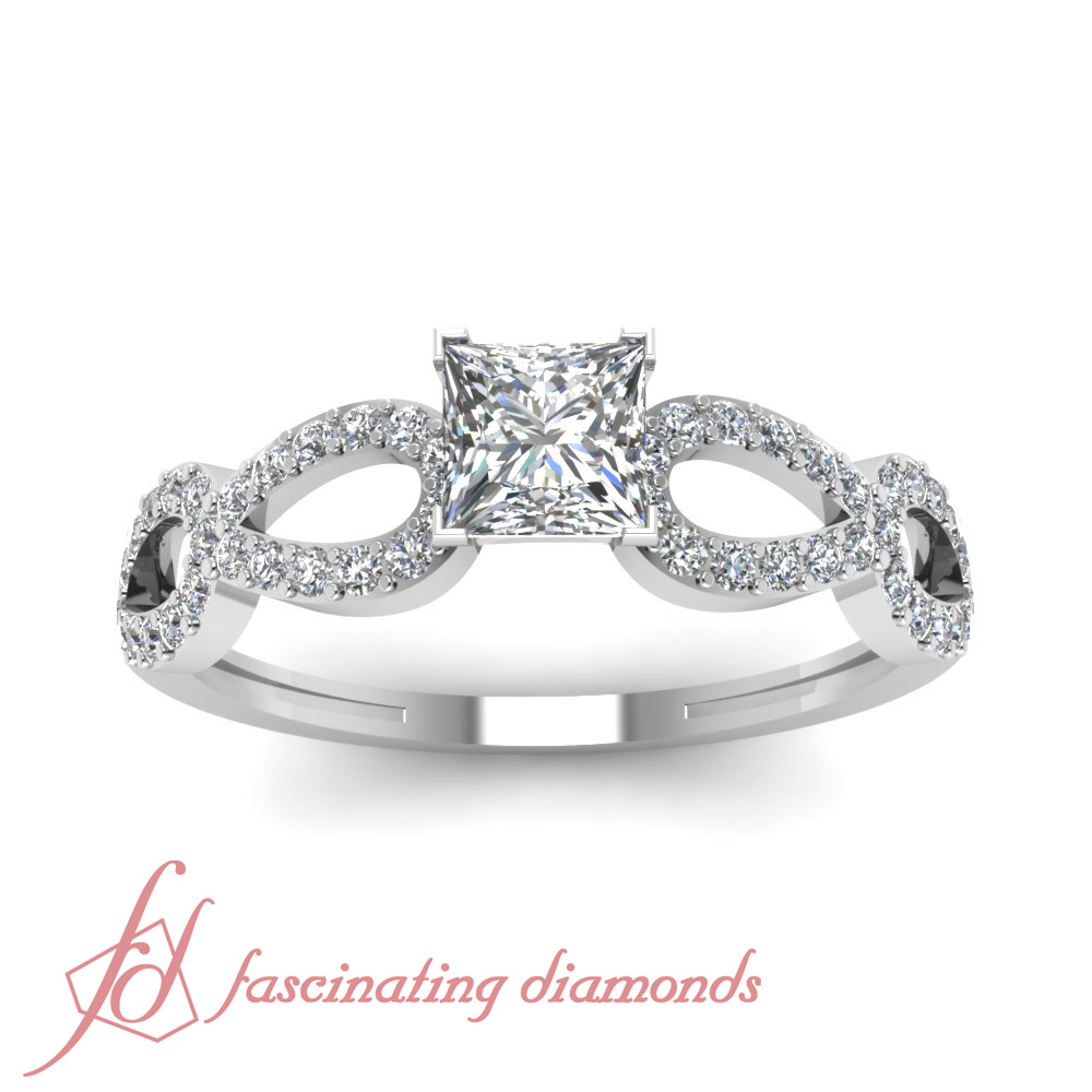 infinity design pave set engagement rings for women 0 75