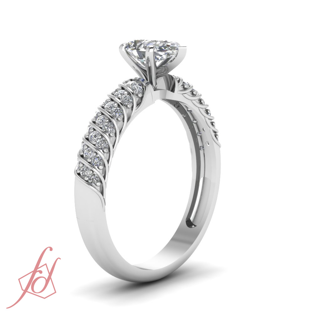 90 Ct Pear Shaped Diamond SI2 Engagement Ring Pave Set 14K Cut Very Good GIA