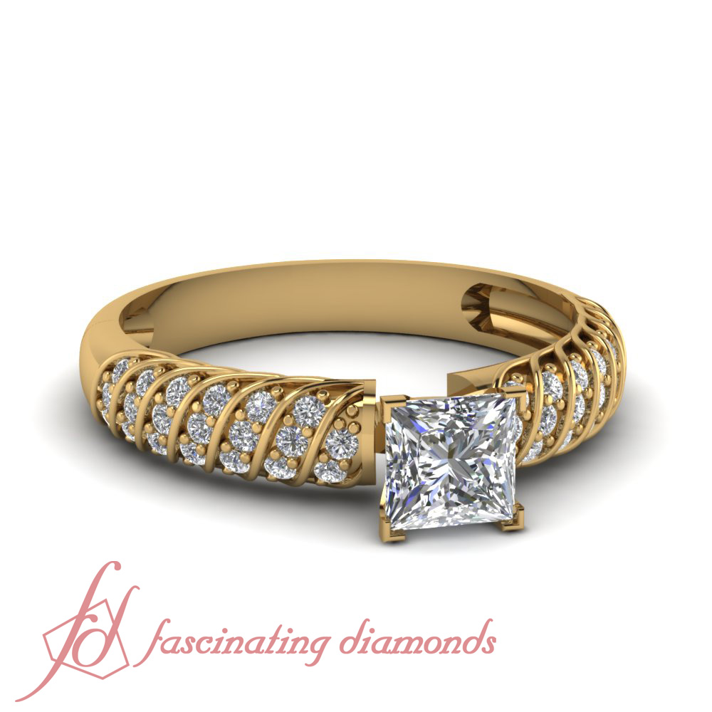 Cheap Yellow gold engagement rings Princess cut Pave set Diamond GIA