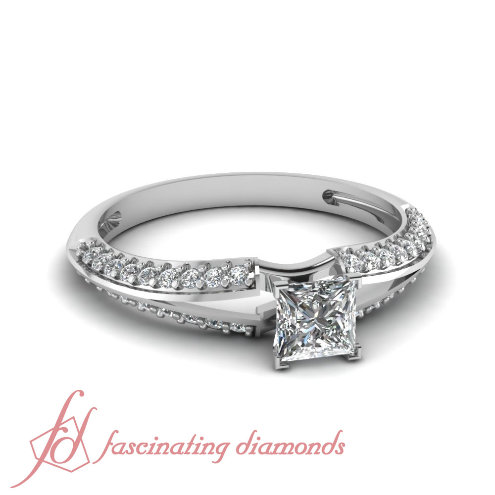 Platinum Diamond Engagement Rings For Women Pave Set With Princess Cut 0 65 C