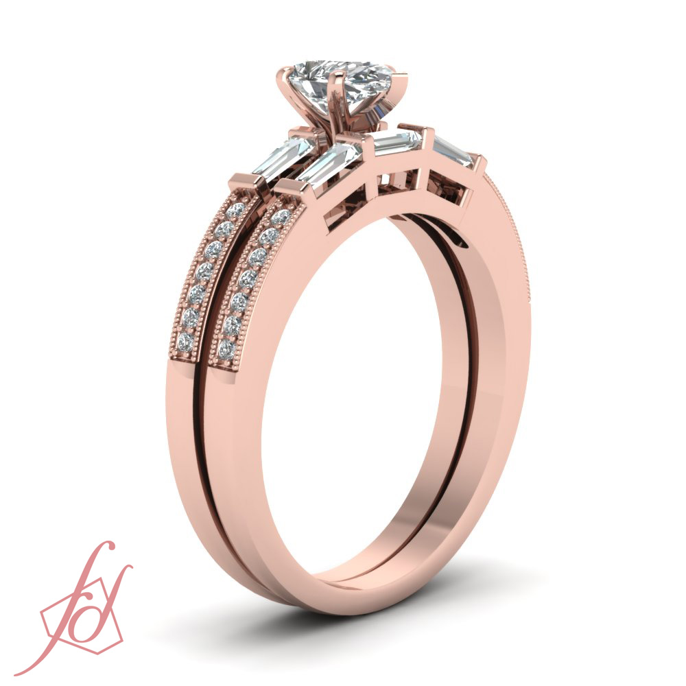 76 Ct Pear Shaped SI2 F Color Diamond Engagement Bridal Rings Set With Milgrain