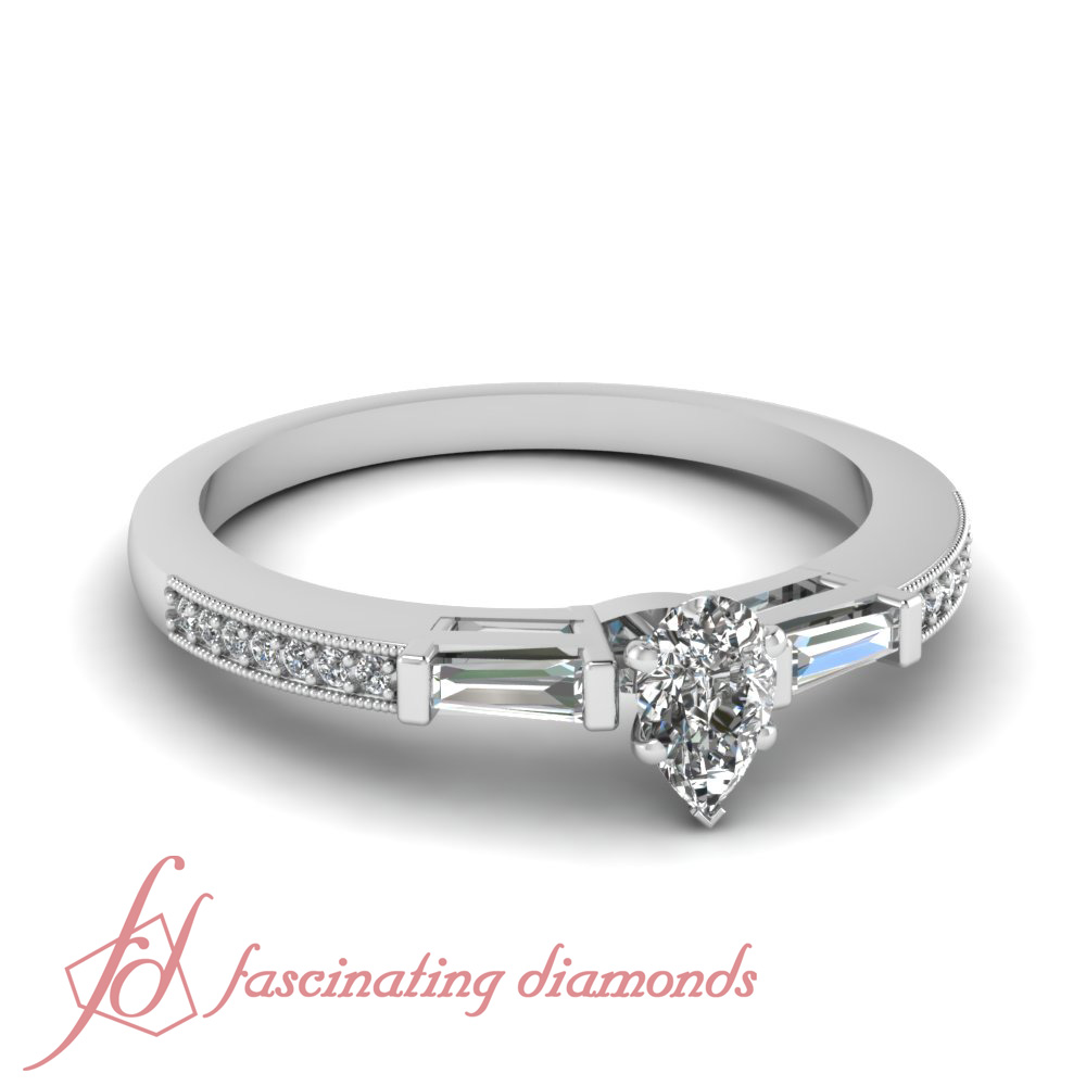 56 CT Pear Shaped Diamond Dainty Engagement Ring Pave SET 14K SI2 F Color GIA